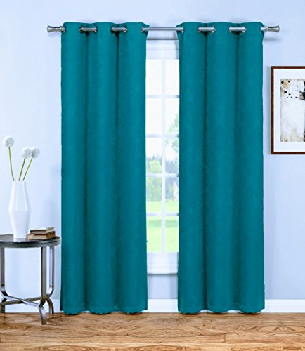Warm Home Designs 1 Pair (2 Panels) of Dark Blue Insulated Thermal Blackout Curtains with Grommet Top. Each Window Panel Is 38″ X 84″ in Size. 2 Dark Blue 84 Panels