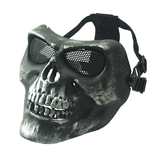 Full Face TPU Zombie Skull Airsoft Mask with Metal Mesh Eye Protection for Airsoft / BB / Paintball Gun,CS Game,Cosplay and Outdoor Party Silver gray