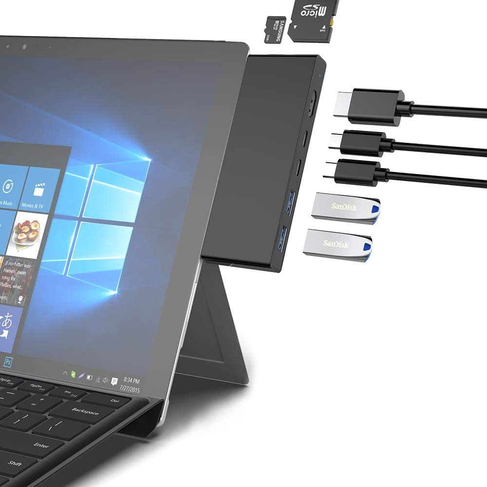 Docking Station for Microsoft Surface Pro 7,Rocketek 7-in-2 Surface Pro 2019 USB HUB Dock Adapter with USB C PD 60W Charging, 4K HDMI Output, 2USB3.0(5Gbps),SD/TF Card Reader, Type-c Data Interface
