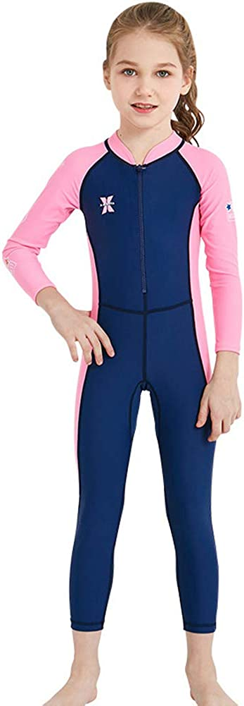 AIWUHE Children's Diving Boy and Girl Suit Outdoor Long-Sleeve One-Piece Swimsuit Sunscreen Quick-Dry Medium Children's Swimsuit