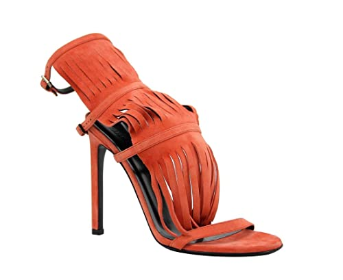 bbdd1cbbe29f3 Amazon.com: Gucci Shoes Becky Orange Suede Fringed High Heel: Shoes