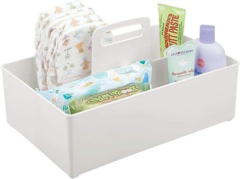 Babynahrung usw blau Spielsachen mDesign Caddy mit 2 F/ächern f/ür Babysachen Aufbewahrungsbeh/älter mit Griff aus Kunststoff Thermometer praktischer Tragekorb f/ür Creme