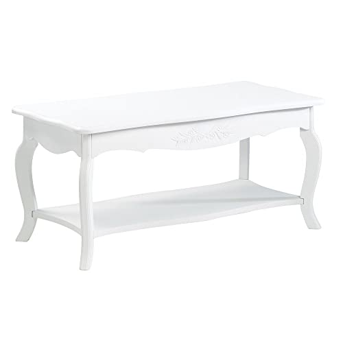 Koehler 13226 37 Inch White Floral Elegant Coffee Table