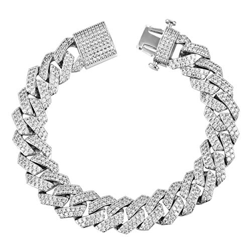 (TRIPOD JEWELRY 15mm 18K Gold/White Gold Plated Diamond Prong Iced Out Cuban Link Chain/Bracelet - Hip Hop Miami Cuban Link Choker CZ Diamond Prong Link Choker for Men (White Gold 15mm, 8.50))