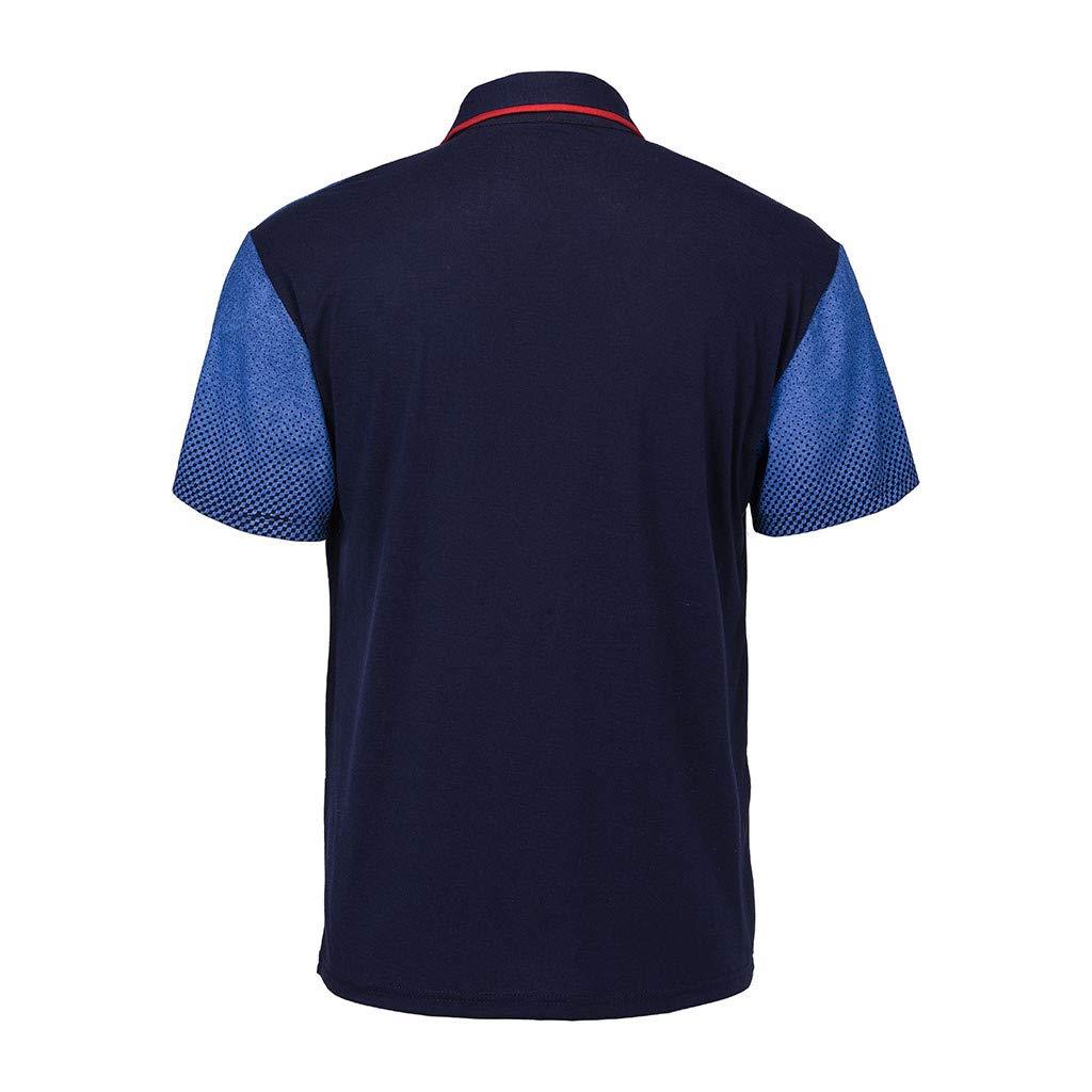 Kamao Mens Tops,Mens Gradient Stripe Splicing Pattern Casual Fashion Lapel Short Sleeve Shirt