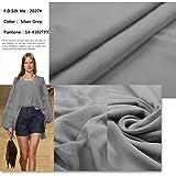 F.d.silk Silver Grey 100% Pure Silk Chiffon Fabric By the Yard, 48 Colors, Silver Grey Ch-027