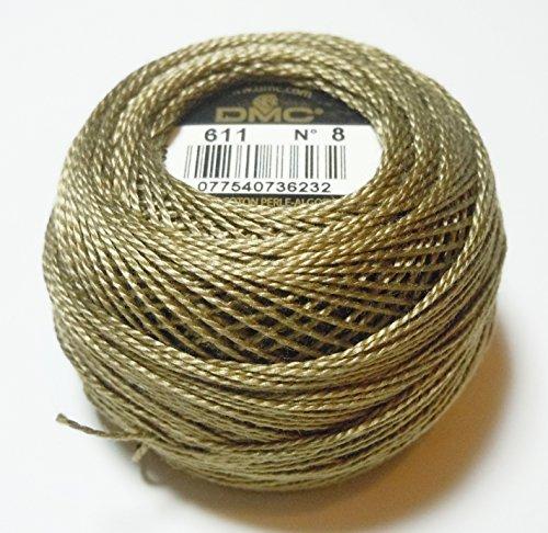 DMC 116 8-611 Pearl Cotton Thread Balls, Drab Brown, Size 8