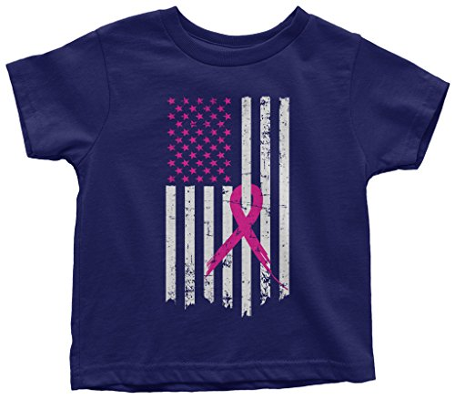 Threadrock Kids Pink Ribbon Breast Cancer Awareness Flag Toddler T-Shirt