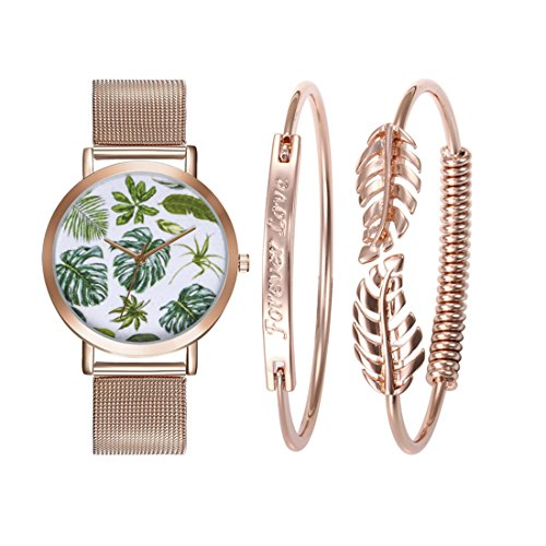 Set Stainless Steel Wrist Watch - Loweryeah Women Tropical Leaves Pattern Wrist Watch Bracelet Set Quartz Watches with Stainless Steel Strap