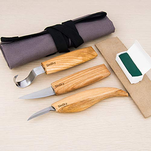 (SIMILKY Wood carving tools knives for carving spoons bowls kuksa and cups -Tools Roll Leather Strop and Polishing Compound Hook Sloyd Detail Knife-Right-Handed)