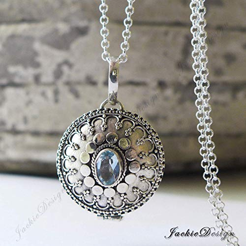 - Round Blue Topaz Container Locket Sterling Silver Pendant 20