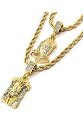 "Mens Gold Two Piece Iced Jesus & Prayer Hand Set Pendant Hip Hop 24"" & 30"" Rope Chain D219"