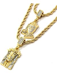 Mens Gold Two Piece Iced Jesus & Prayer Hand Set Pendant...