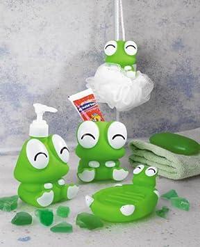 Rana estilo accesorios de baño, plato de jabón, cepillo de dientes soporte, esponja de baño, loción dispensador de jabón líquido, baño Set para niños: ...