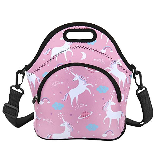 Unicorn Lunch Bag Starry sky Neoprene Lunch Box with Zipper Pocket and Adjustable Strap Insulated for School Travel Picnic