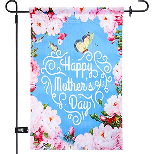 Chuangdi Garden Flag 12 x 18 Inch Decorative Mother's Day Garden Flag with 1 Rubber Stopper and 1 Clear Anti-Wind Clip (Color 7)