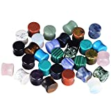 "D&M Jewelry 32pcs 2G-5/8"" Turquoise Opalite Amethyst Quartz Onyx Stone Saddle Stretching Plugs"
