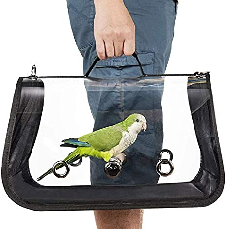Portador de pájaros liviano, jaula de viaje para pájaros PVC transparente loro transpirable bolso con un palo de madera