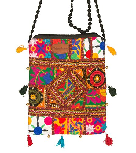 Small Vintage Messenger Cross body Satchel Shoulder Bag Floral Purse Women Colorful Tassel Embroidered Organizer Cellphone Pouch Ipad Travel Small Hobo Sling (Red) (Bag Handbag Quilted Shoulder Cotton)