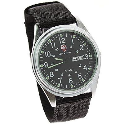 itemstoday Canvas Band Men's Date Week Luminous Dial Swiss Army Quartz Wrist Watch