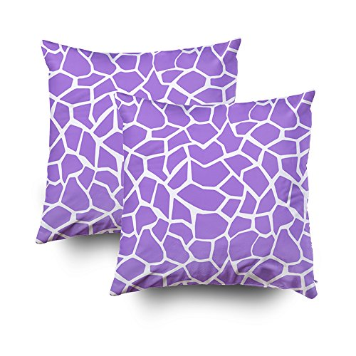 EMMTEEY Home Decor Throw Pillowcase for Sofa Cushion Cover,amethyst purple giraffe animal print Decorative Square Accent Zippered and Double Sided Printing Pillow Case Covers 18X18Inch,Set of ()