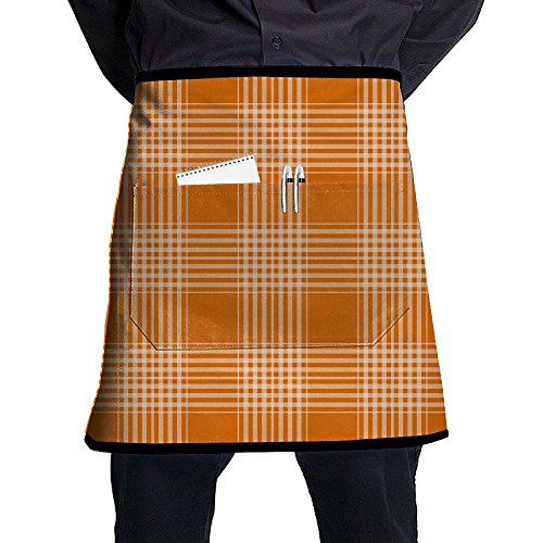 Jaylon Waist Short Apron Half Chef Apron Plaid Checks Orange Cooking Apron with Pockets Home Kitchen Cooking -