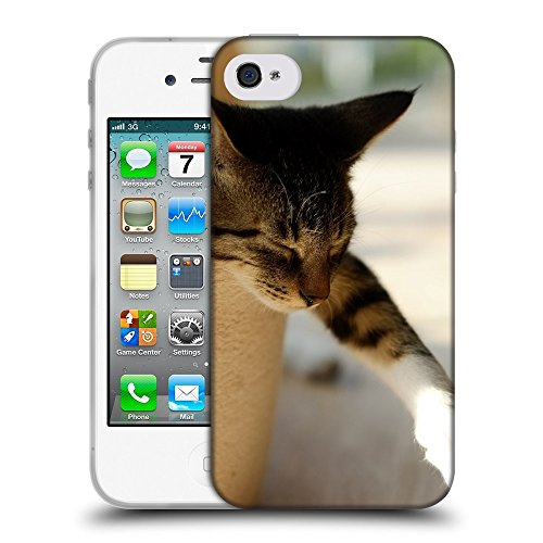Just Phone Cases Coque de Protection TPU Silicone Case pour // V00004230 dormir chat colle la patte // Apple iPhone 4 4S 4G