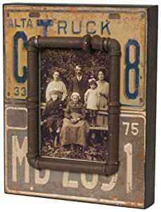 Wilco Imports Distressed Wood Licence Plate Motif Picture Frame