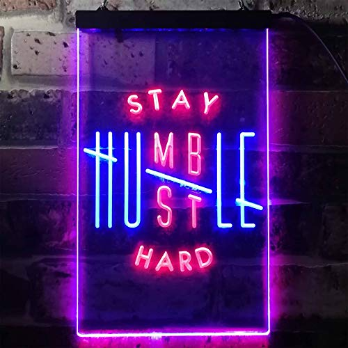 ADVPRO Stay Humble Hustle Hard Room Display Dual Color LED Neon Sign Red & Blue 12″ x 16″ st6s34-i3356-rb