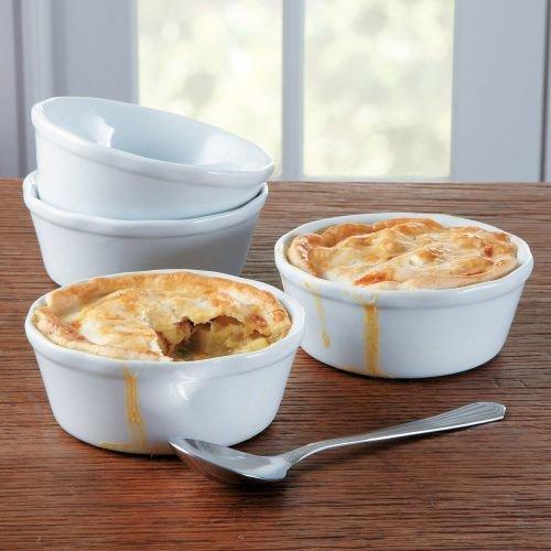 Ramekins Bia (BIA Cordon Bleu Pot Ruffle Pie Bakers, Set of 4,White,)
