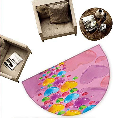- Princess Semicircle Doormat Romantic Stylized Art with Colorful Crystal Hearts Creative Fun Celebration Theme Halfmoon doormats H 70.8