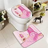 Muyindo Soft Toilet Rug 2 Pieces Set Interior Of Magic Princess droom Old shied Ornament Pillow Lamp Mirror Machine-Washable