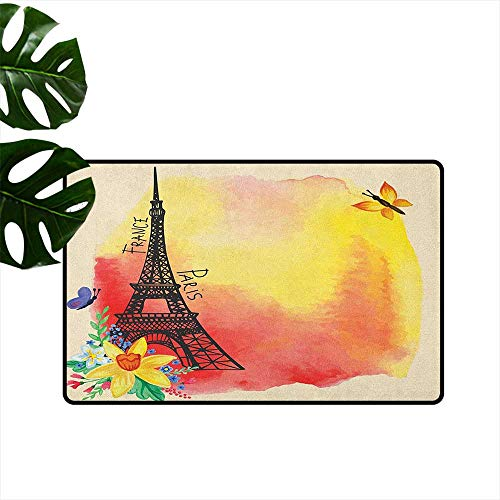 Paris Non-Slip Door mat Romantic Floral Watercolor Image Eiffel with Butterfly Historical French Heritage Art Durable W29 x L39 Multicolor