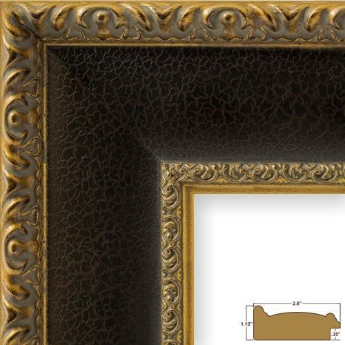 Craig Frames Galerie, Antique Gold and Black Picture Frame, 11 by - Frame Gold Black