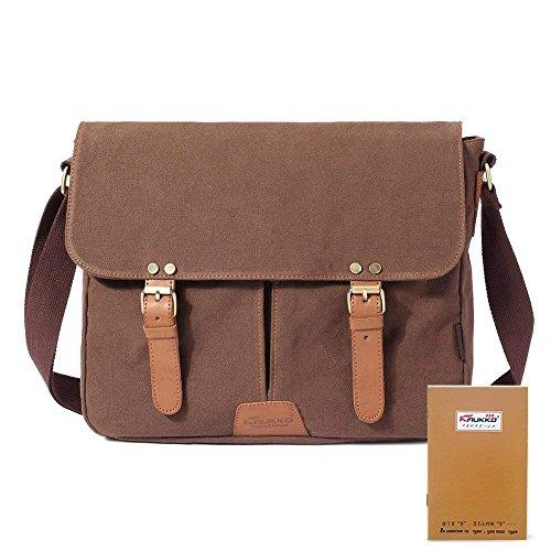 faaac091dcb8 KAUKKO Vintage Men Messenger Bag, Canvas Crossbody Shoulder Bags Laptop  Briefcase Coffee