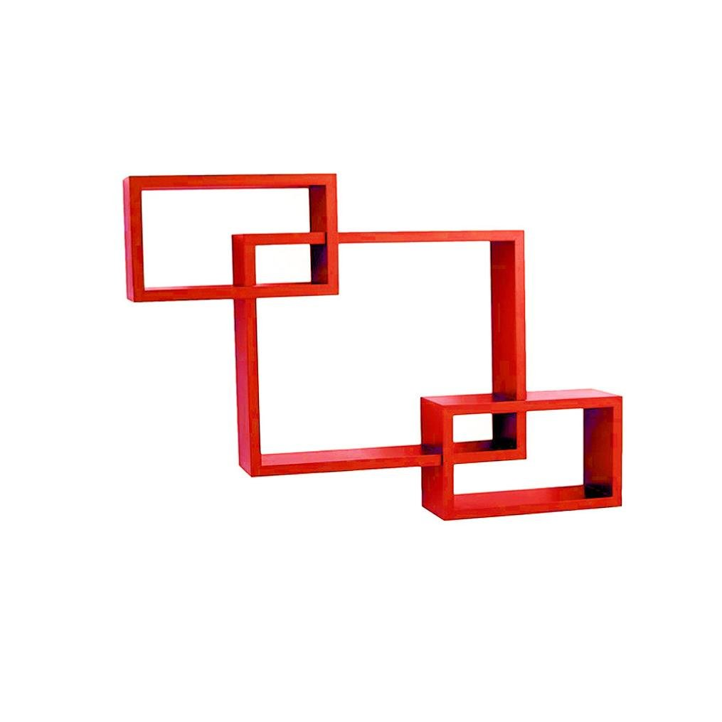 Wall Shelf ,WYTong 3 SetsWall Rectangular Three Shelf,Intersecting Square Wood Shelve Rack Suitable for living room, dining room, bedroom, bathroom, kitchen, office, hotel (Red)
