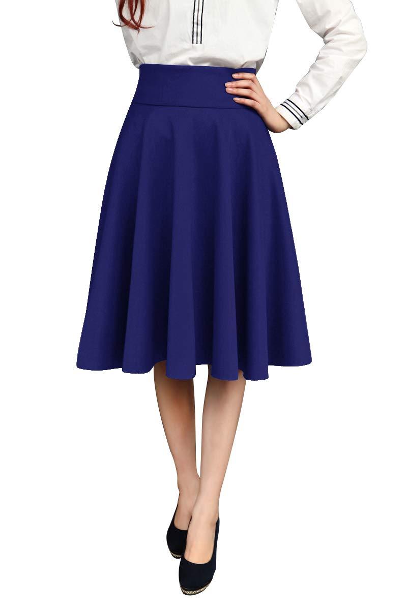 JOAUR Women High Waist A-Line Skirt Pleated Knee Length Midi Skirt with Pockets