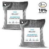 Brilliant Evolution BRRC204 Natural Bamboo Charcoal Air Purifying Bag, Odor Eliminator and Air Freshener for Cars, Closets, Bathrooms, Pet Areas and RV, 2 Pack (2 Bamboo Charcoal Bags), 220G