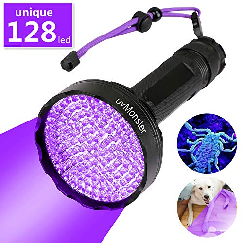 UV Blacklight Flashlight, Super Bright 128 LED Pet Dog Cat Urine Detector light Flashlight for Pet Urine Stains, UV Black light Flashlight for Bed Bugs, Scorpions, Home&Hotel