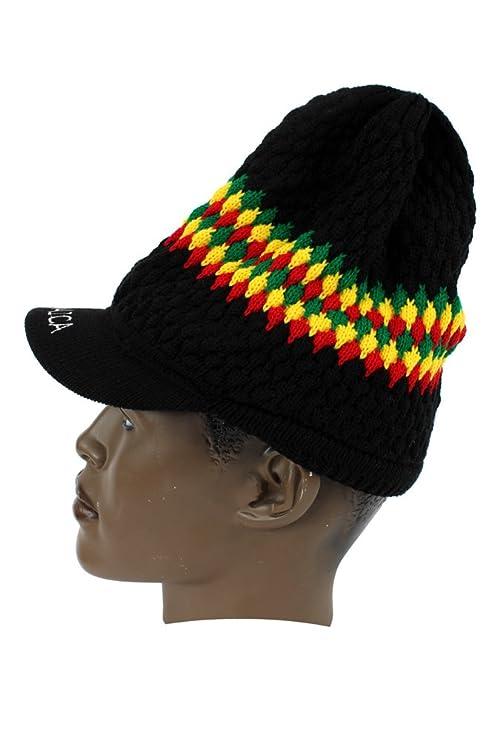 Amazon.com  Dreadlocks Rasta Strip Jamaica Reggae Beanie Ski Hat Cap   Clothing 8fbcf720ce09