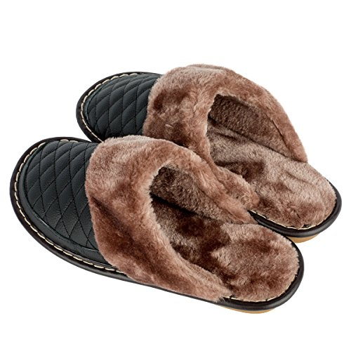 Bedroom Slippers Mens Slippers Haisum Winter Cozy Mule Cow Leather Lining Black Warm Soft House 4TcXHqzf