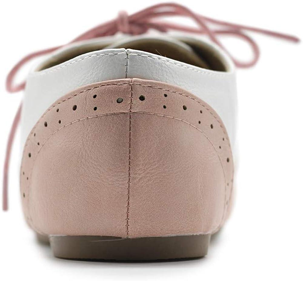 Ollio Womens Shoe Classic Lace Up Dress Low Flat Heel Oxford