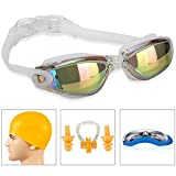 SWIM GOGGLES]Swimming Goggles for Adult Men Women Youth Kids Child,Swim Goggles with 100% UV Protection,Anti Fog Technology Ultra Comfort (White with swim cap)