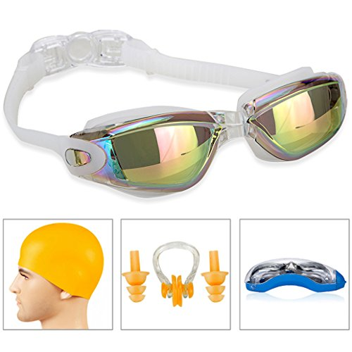 SWIM GOGGLES]Swimming Goggles for Adult Men Women Youth Kids Child,Swim Goggles with 100% UV Protection,Anti Fog Technology Ultra Comfort (White with swim - Youth Glasses Prescription