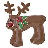 ACCESSORIESFOREVER Christmas Jewelry Crystal Rhinestone Adorable Reindeer Brooch Pin BH229 Brown