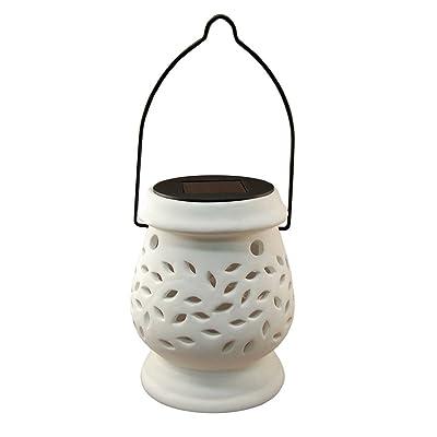 Lumabase 62001 Solar Powered Ceramic Lantern, White : Garden & Outdoor