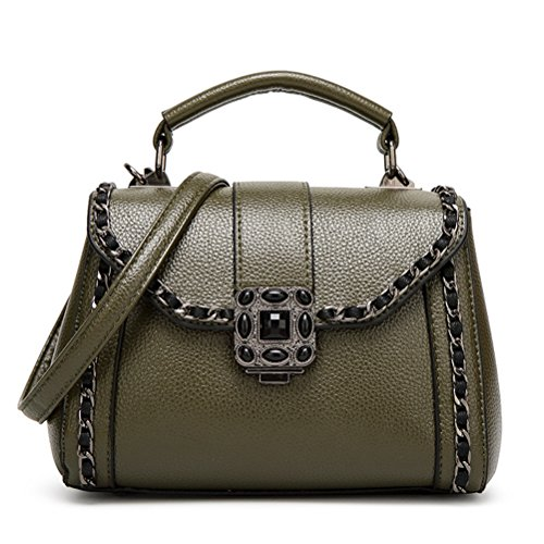 Sygoodbuy Leather Shoulder Bag Vintage Elegant Small Shoulder Bag Chain (color Size: Black, Size) Women Dark Green