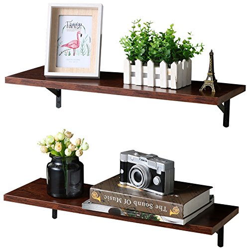 - SUPERJARE Wall Mounted Floating Shelves, 2 Sets Display Ledge, Storage Rack for Room/Kitchen/Office - Walnut Brown