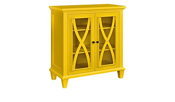 Amazon.com: Modern Transitional Wooden Display Media Cabinet With Curved X  Design Over Glass Doors And 3 Shelves   Includes Modhaus Living Pen (Yellow):  ...