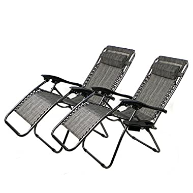 XtremepowerUS Zero Gravity Chair Adjustable Reclining Chair Pool Patio Outdoor Lounge Chairs w/ Cup Holder Set of 2(Gray)